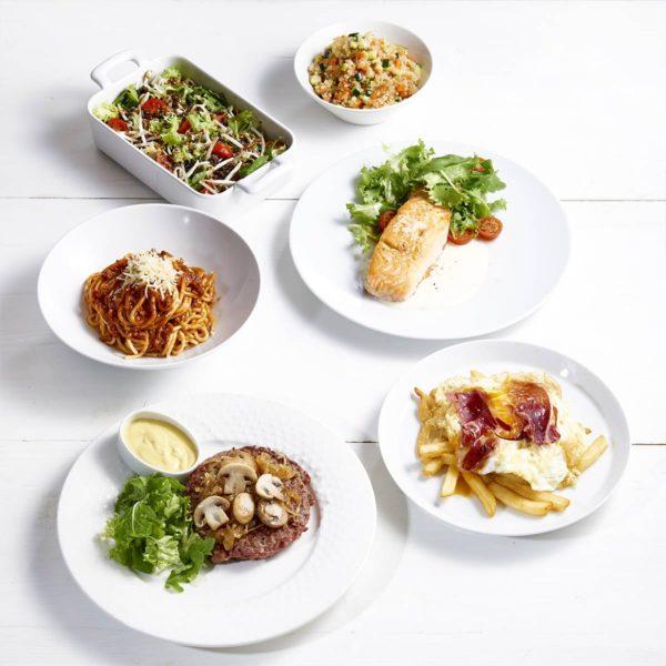 Menú del día con platos variados